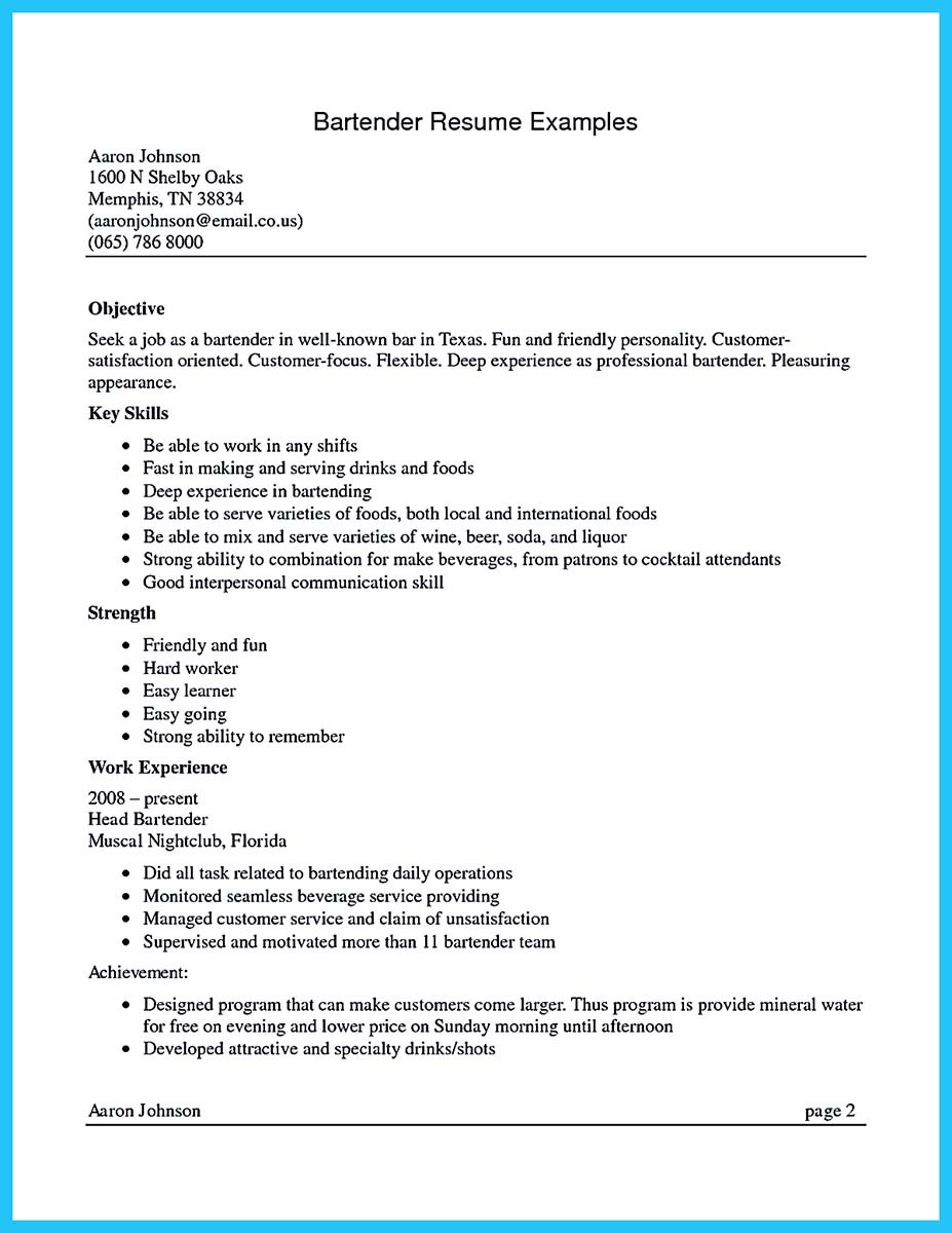 Bartender Cover Letter Sample Job And Resume Template