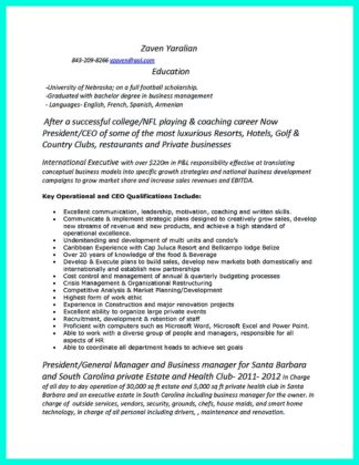 College Golf Resume Cover Letter