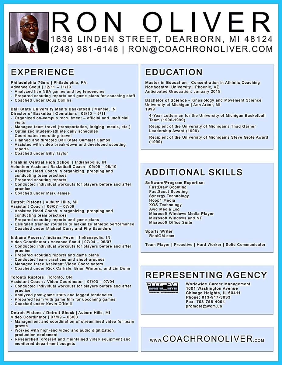 sample of basketball coach resume