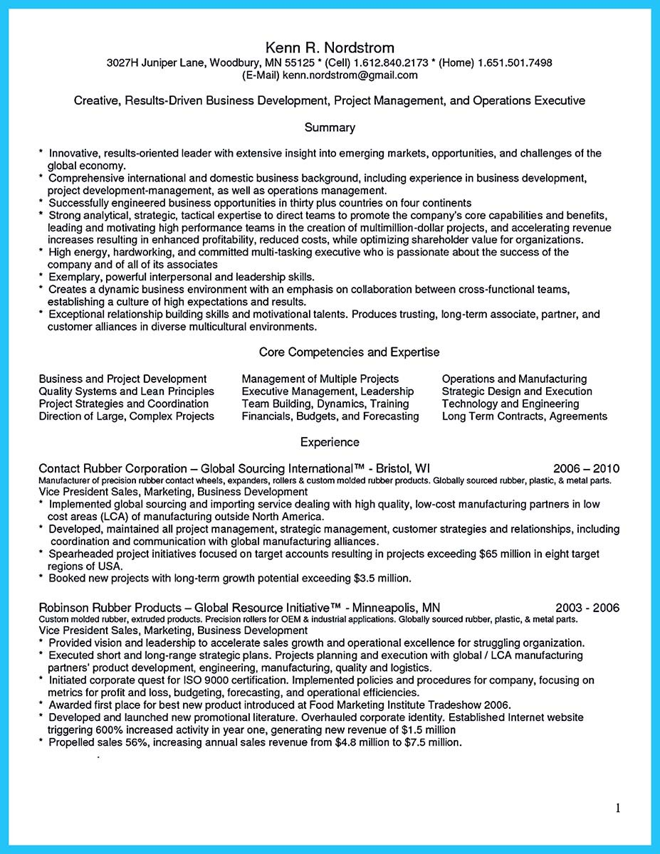 business development manager cv