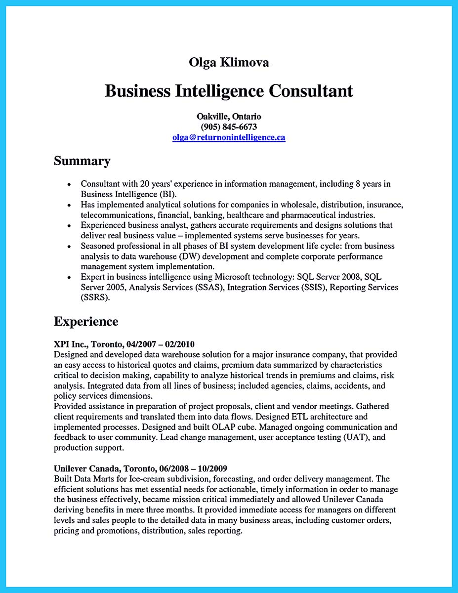 Business Intelligence Consultant Cover Letter video technician ...
