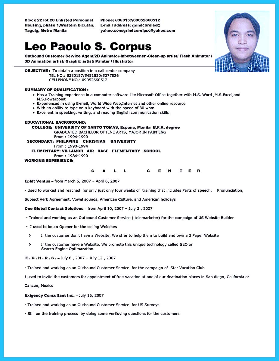 Student Resume Written For A Call Center Vacancy 12