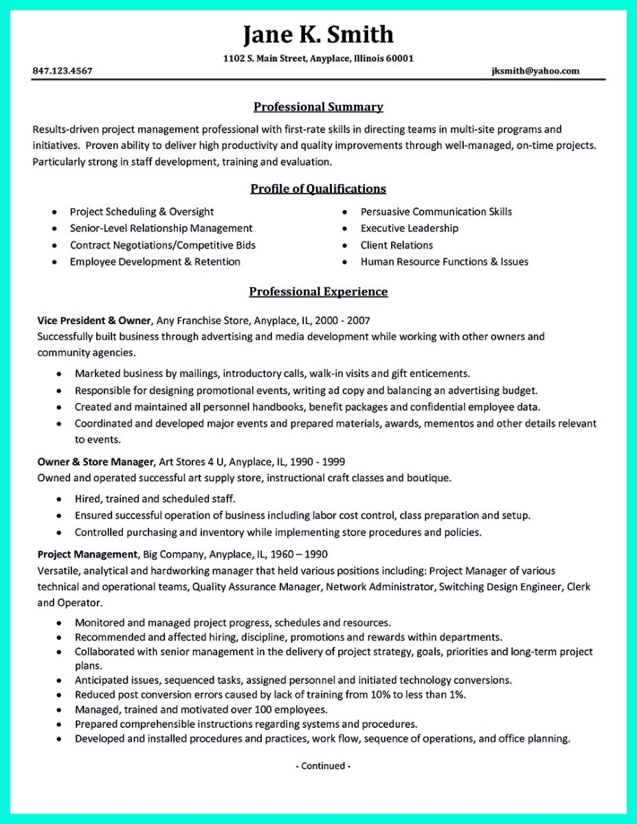resume words instead of responsible for