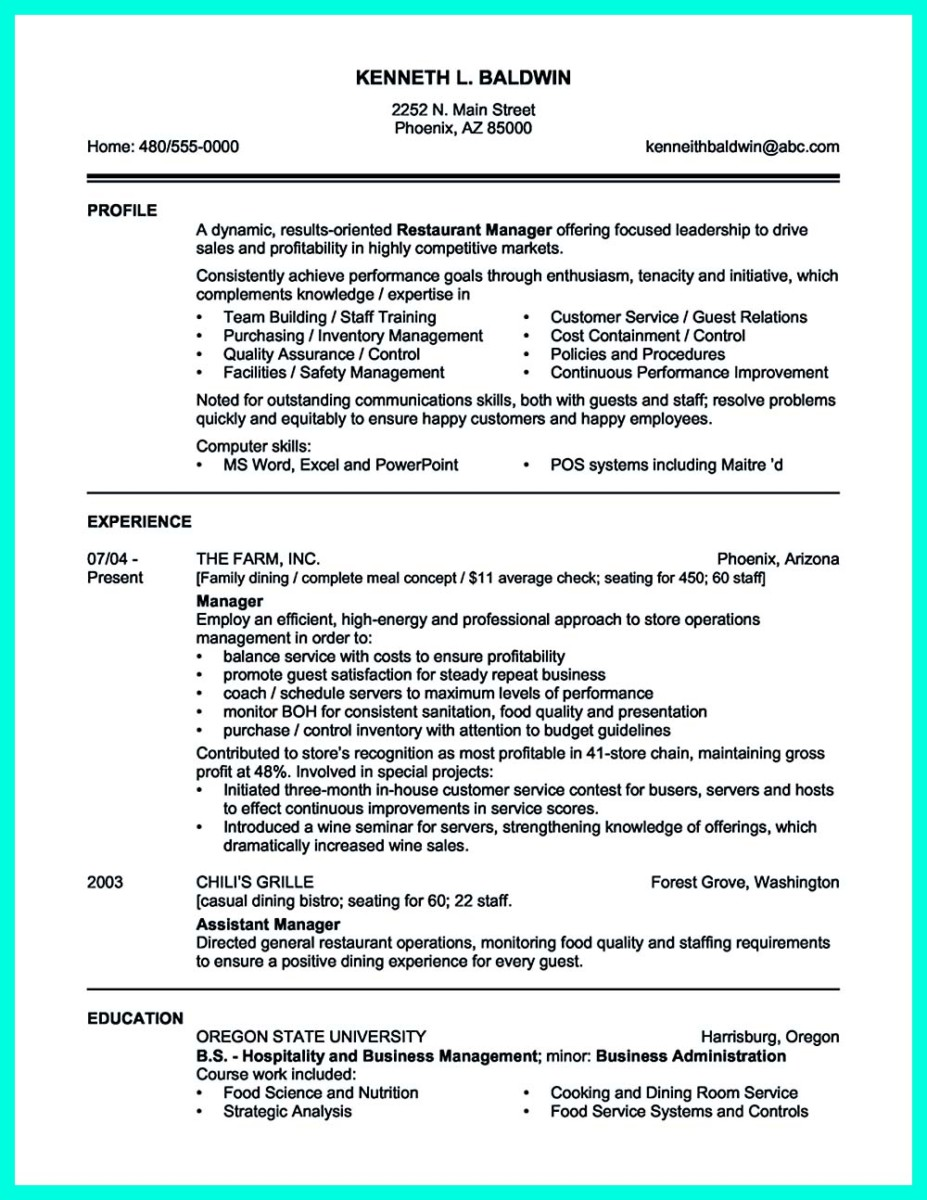 Catering Sales Manager Sample Resume bar attendant cover letter – Sales Manager Resume Samples