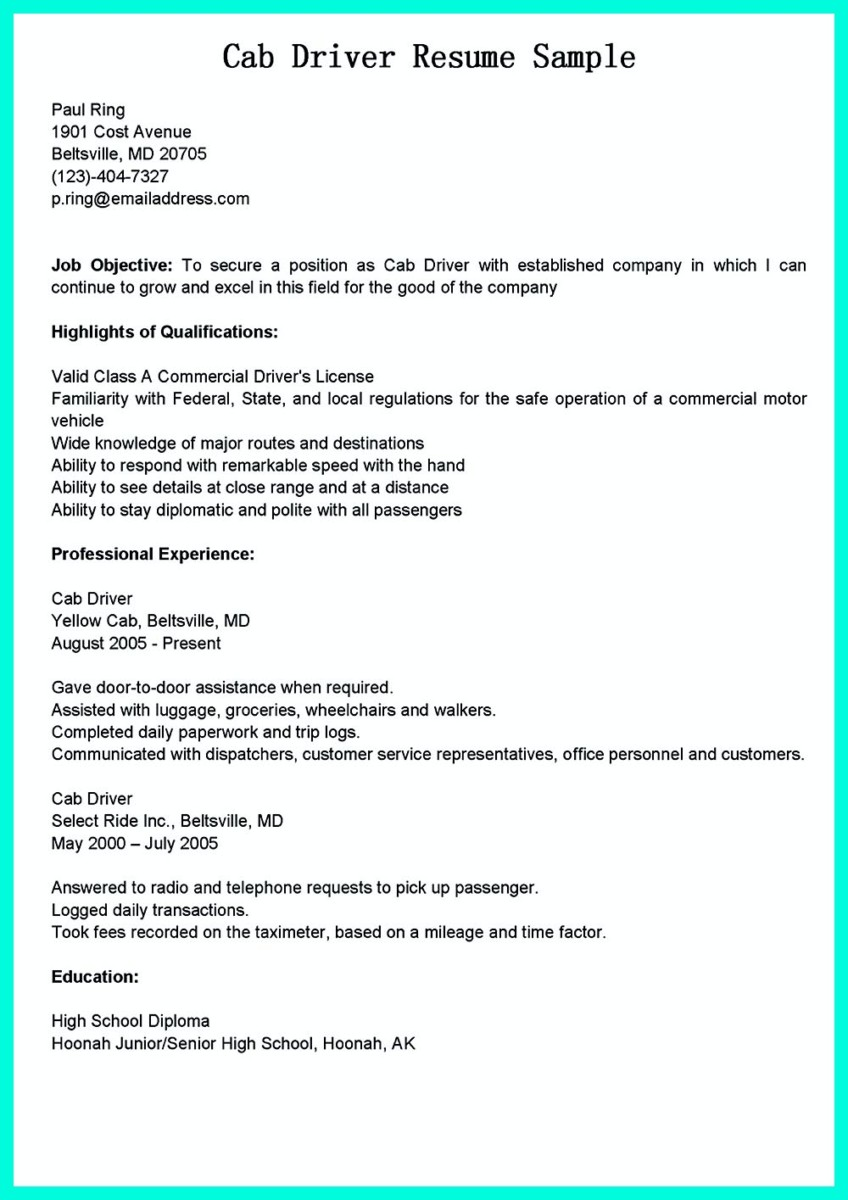 Cdl Resume Sample delivery driver resume samples choose taxi – Sample Bus Driver Resume