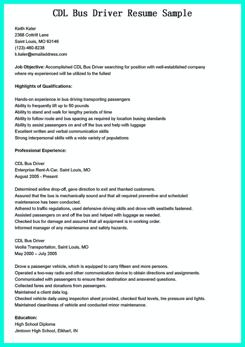 cdl truck driving resume samples