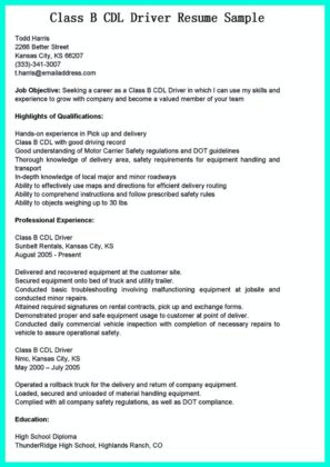 resume for cdl driver - Josemulinohouse