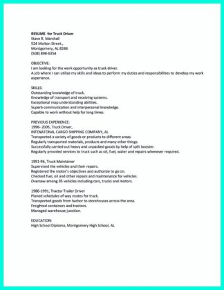 cdl driver resume cover letter