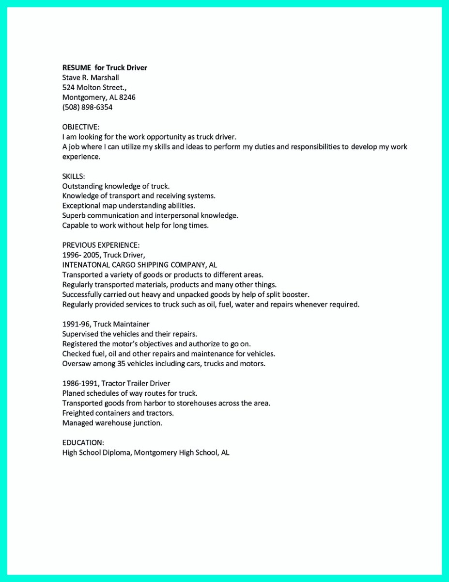 motor coach driver resume sample
