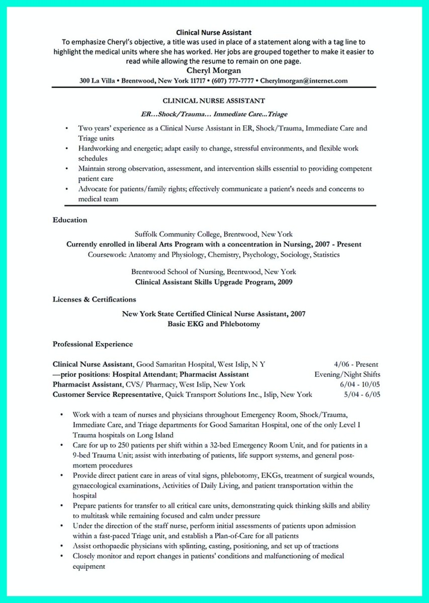 Nursing Assistant Resume Job Description. certified nursing ...