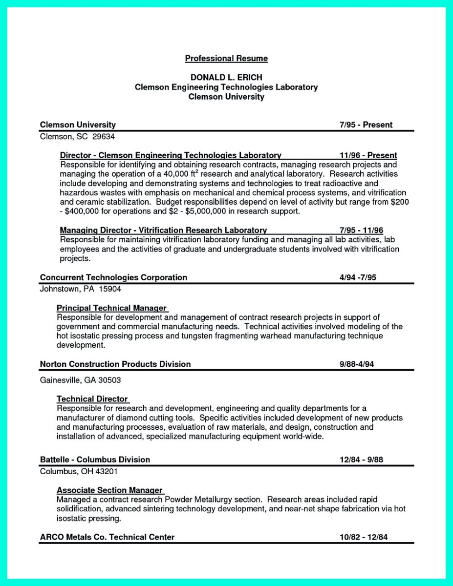 resume for job engineering