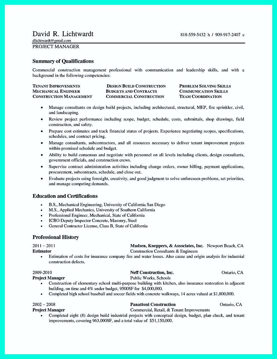 residential construction resume examples