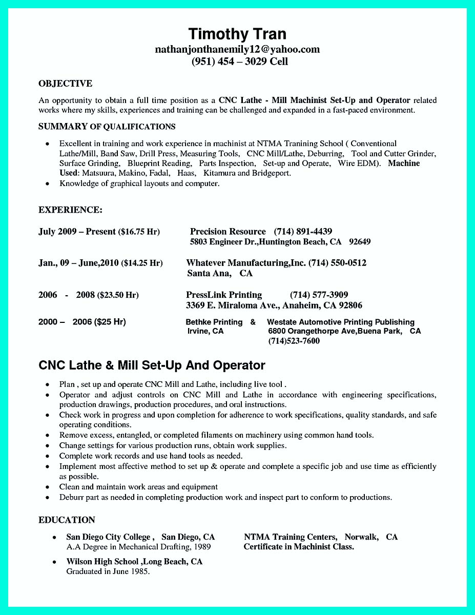 sample of resume and cover letter for cnc machinist
