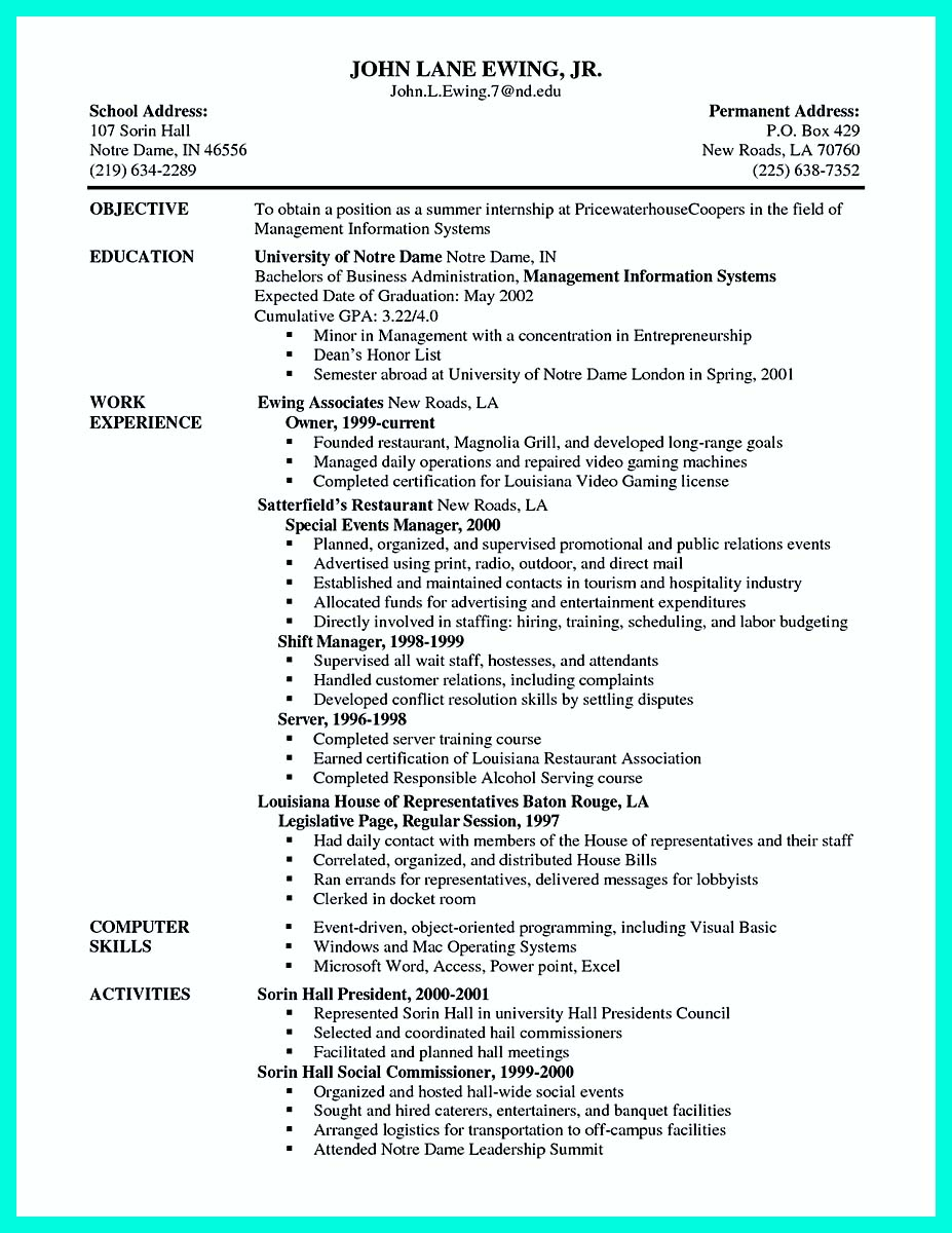 examples of server resumes