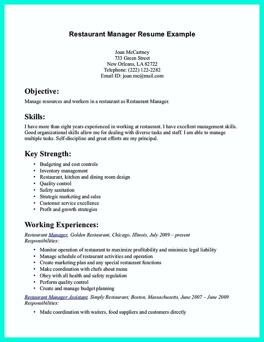 resume examples without objective