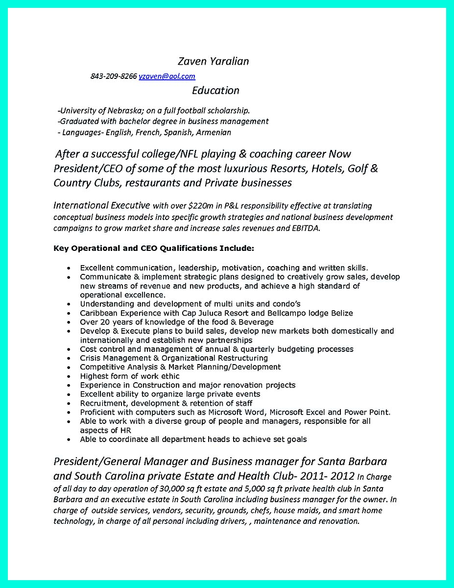 golf resume template for college