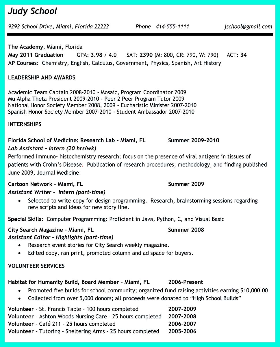 sample resume examples for college students