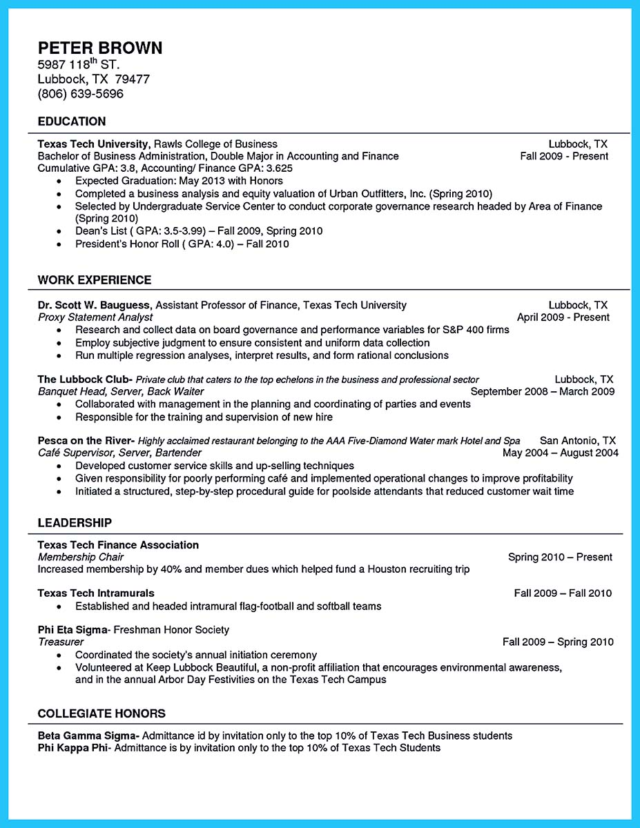 example of resume for student in college