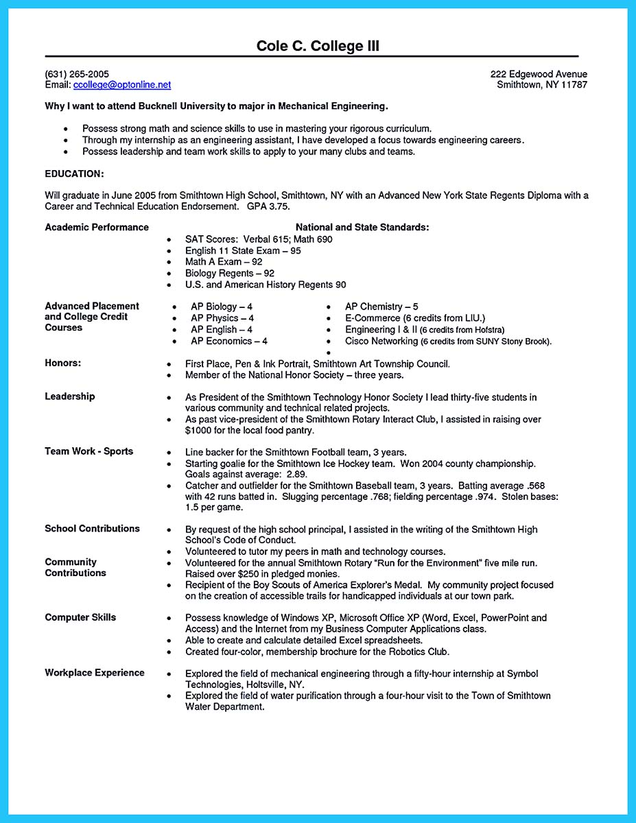 how to write college resume examples