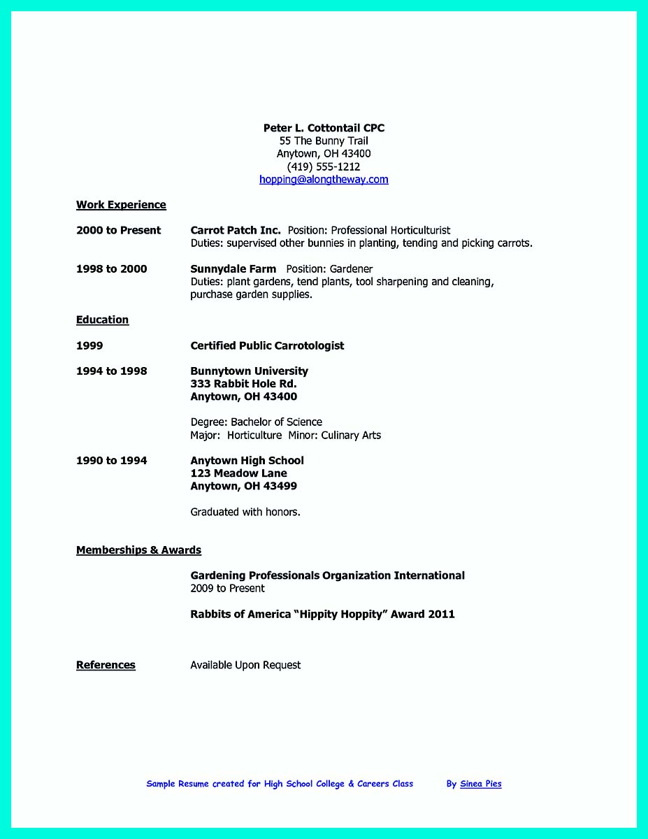 student resume samples college