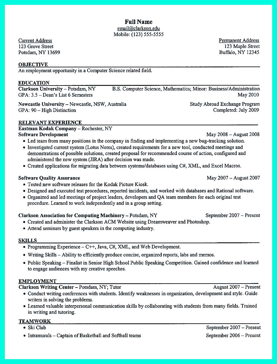 best resume templates computer science