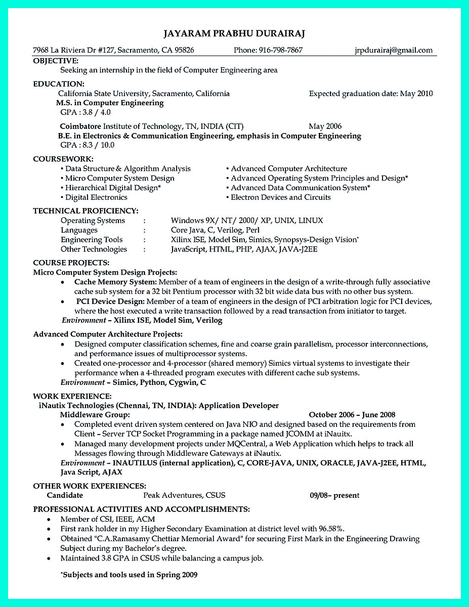 resume examples for engineering jobs