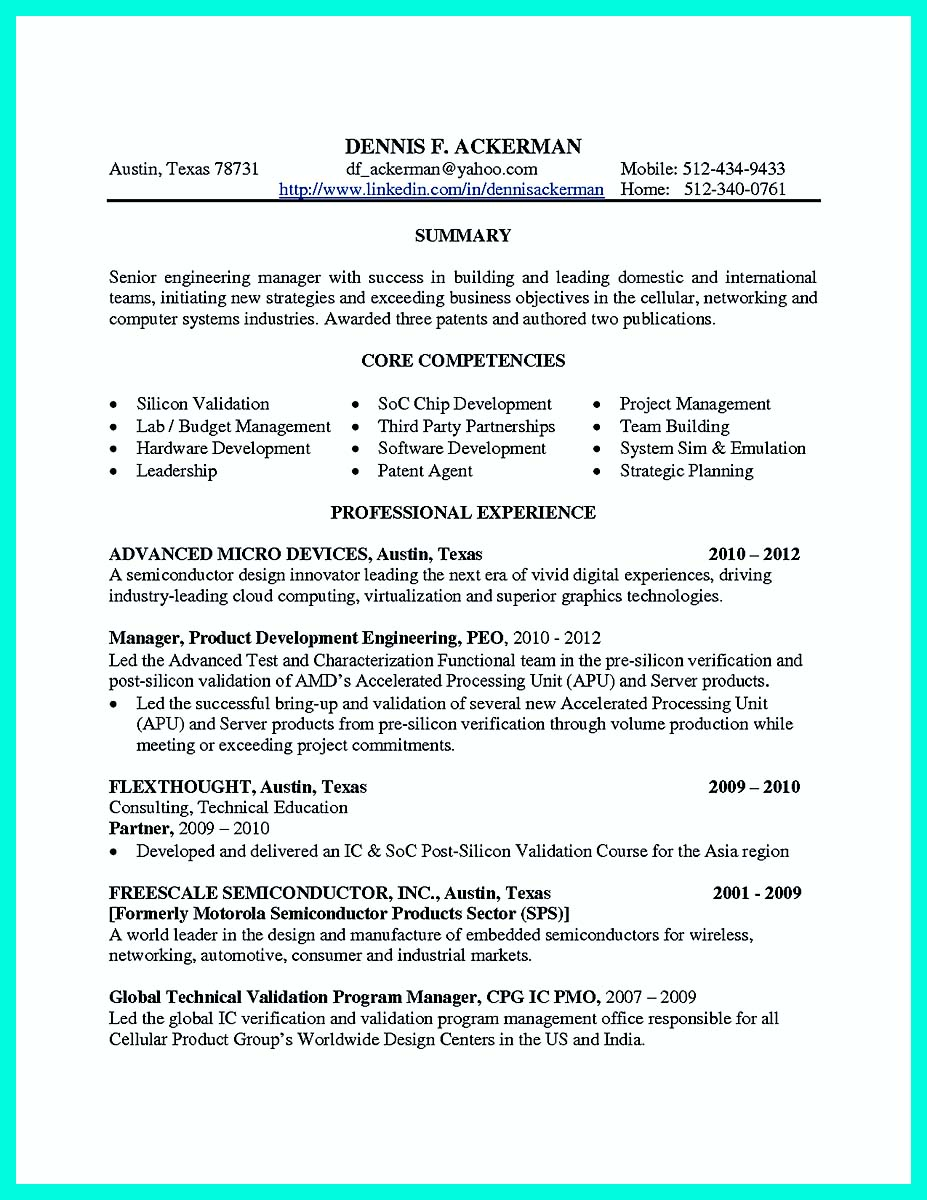 resume with experience sample