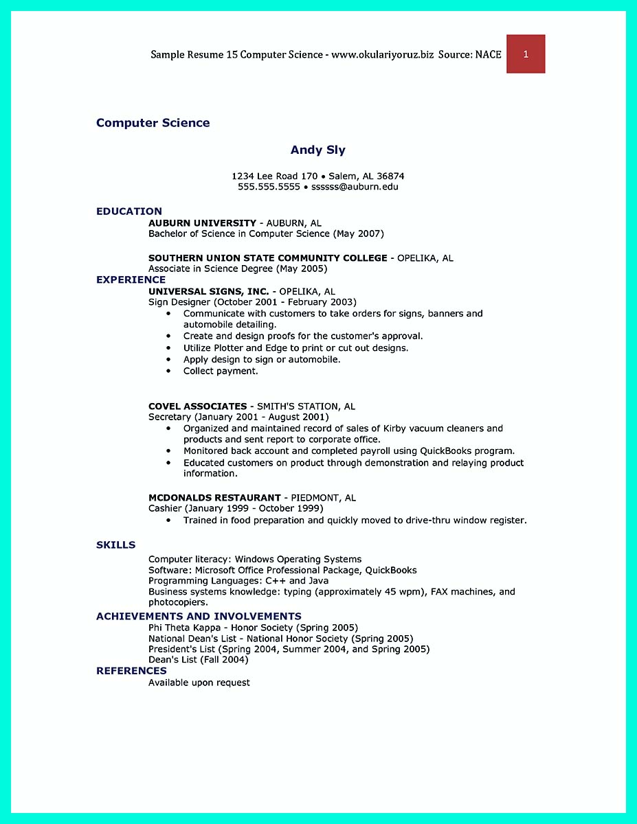 bachelor of science resumes