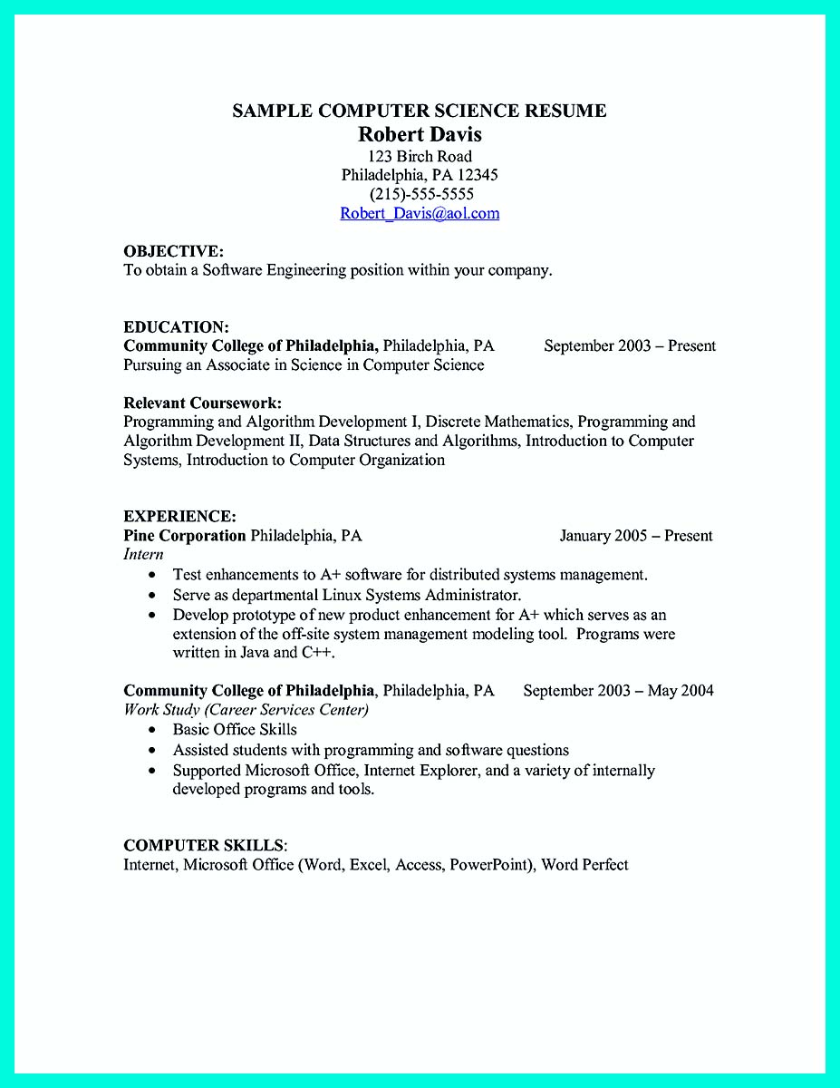 computer science internship resume no experience