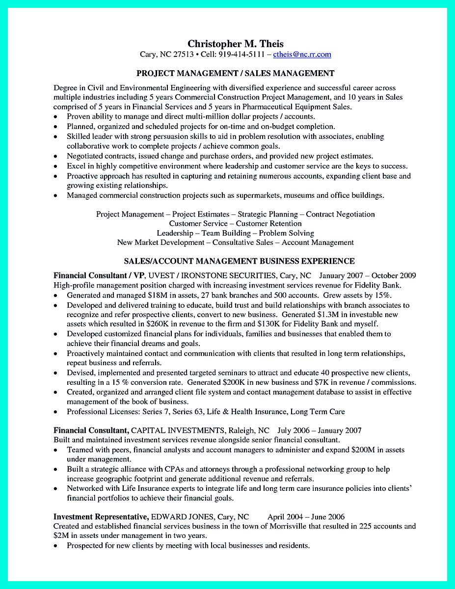 resume skills project manager