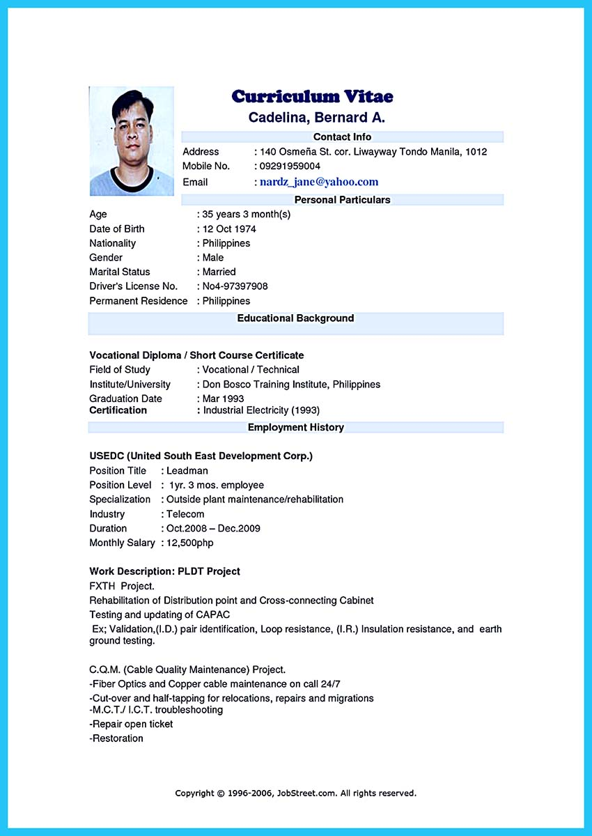 resume format video