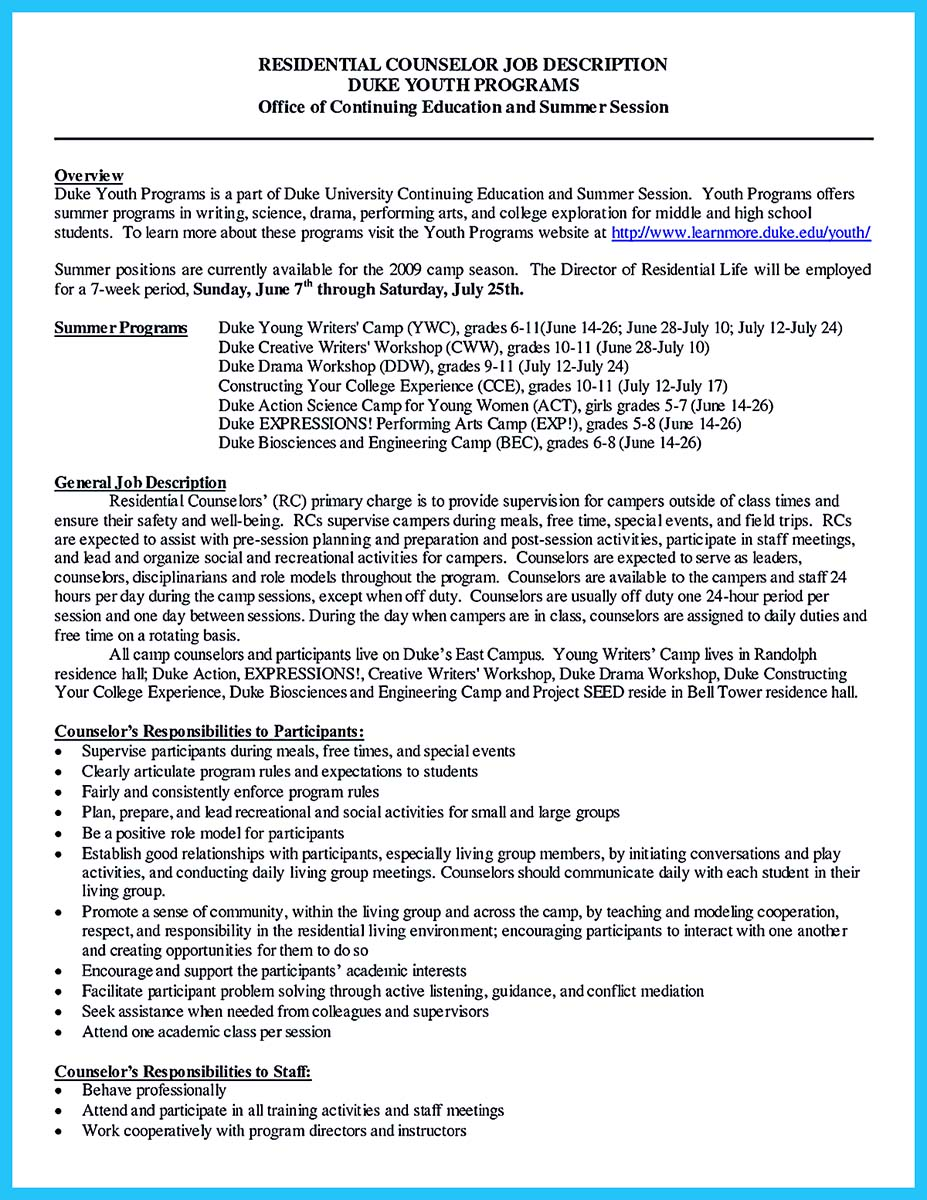 Camp director job description resume