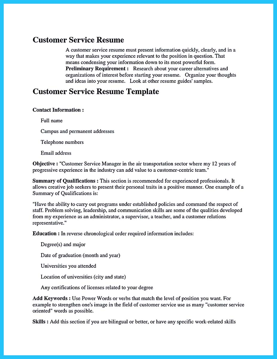 sample qualifications for customer service resume