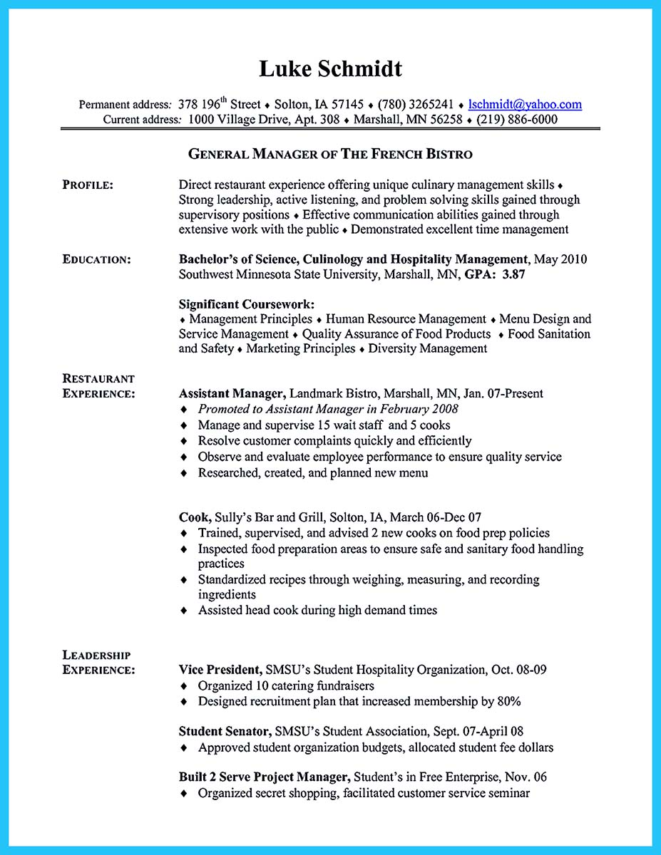excellent chef resume examples