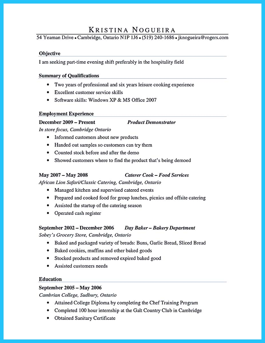 sample of a culinary resume