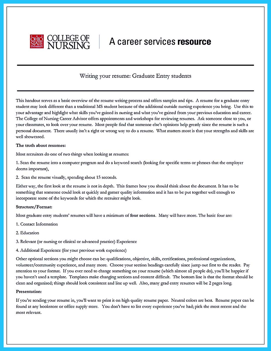 example of a current college student resume