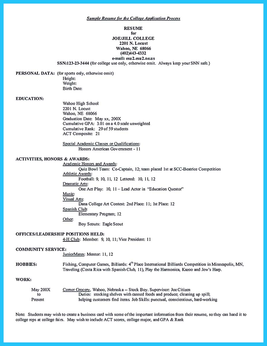 resume example high school students