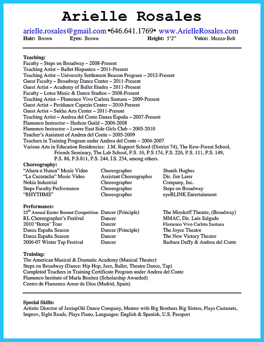 dance resume examples for college