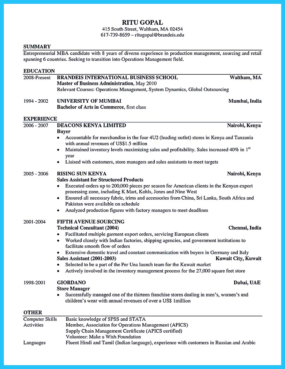 best sample resume 2017