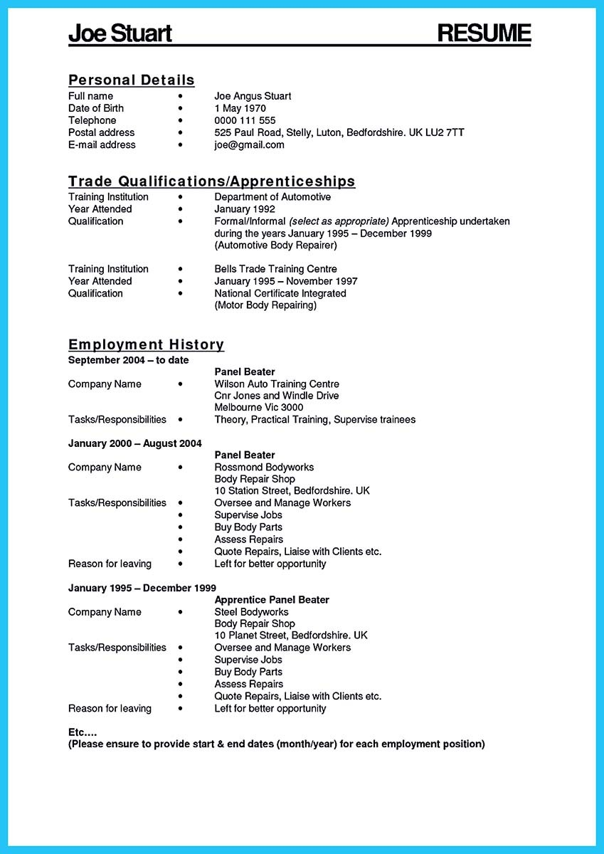 sample resume automotive technician