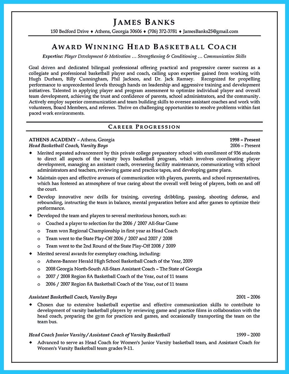resume for assistant basketball coach