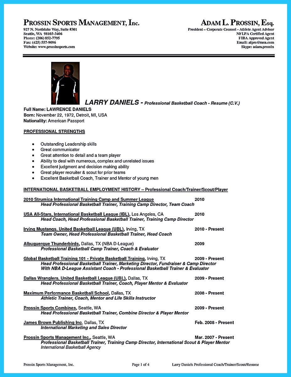 basketball player resume template