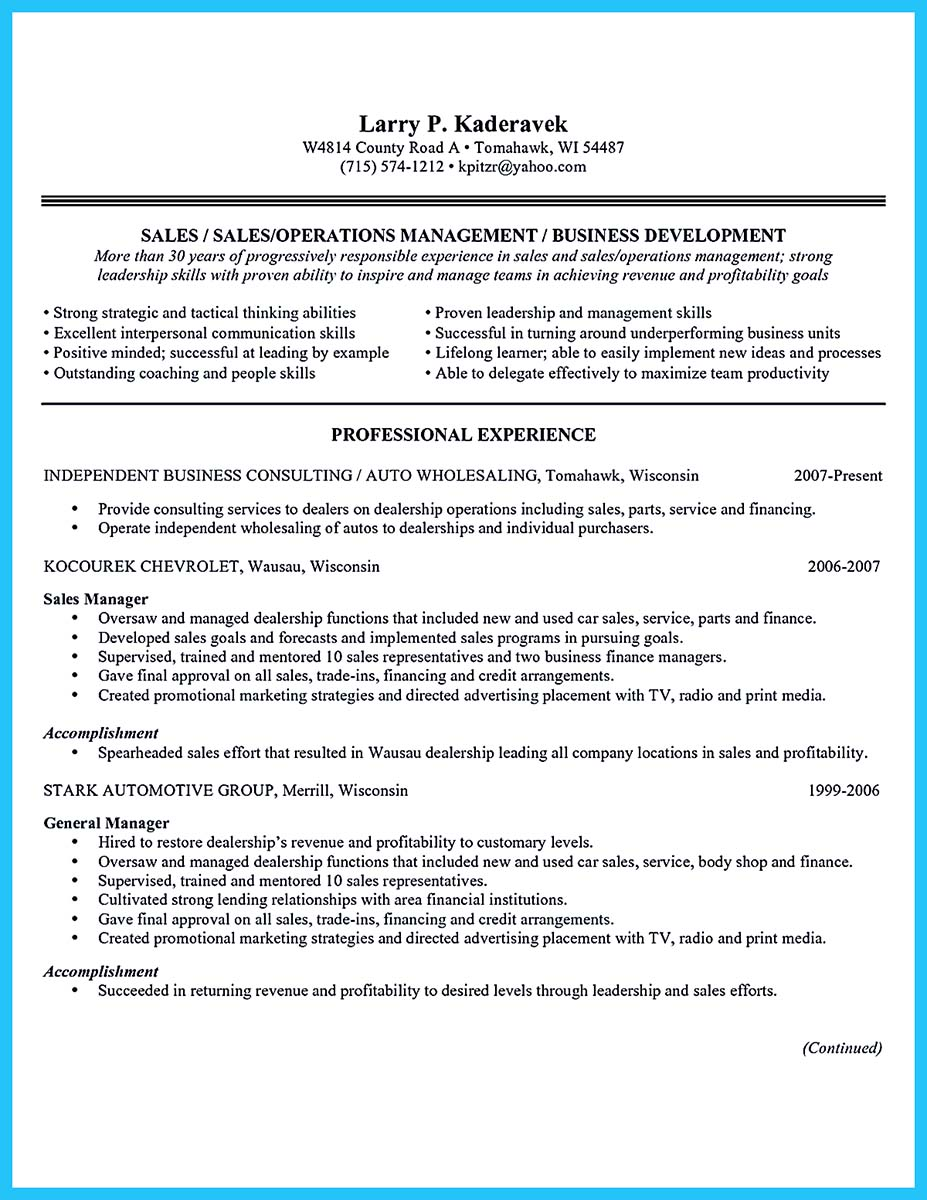 Car Sales Job Description For Resume