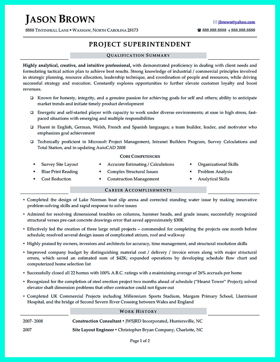 Building construction resume cover letter