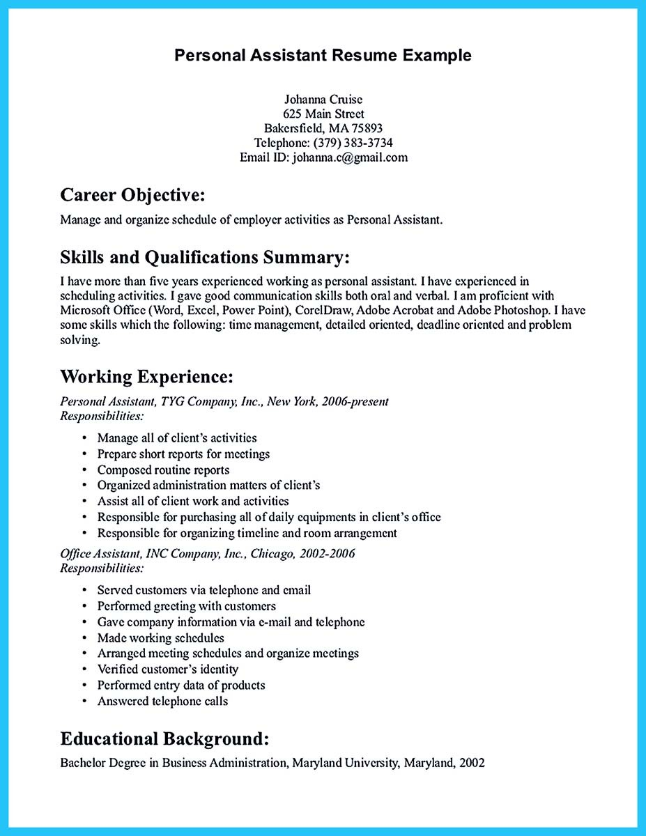 private personal assistant resume sample