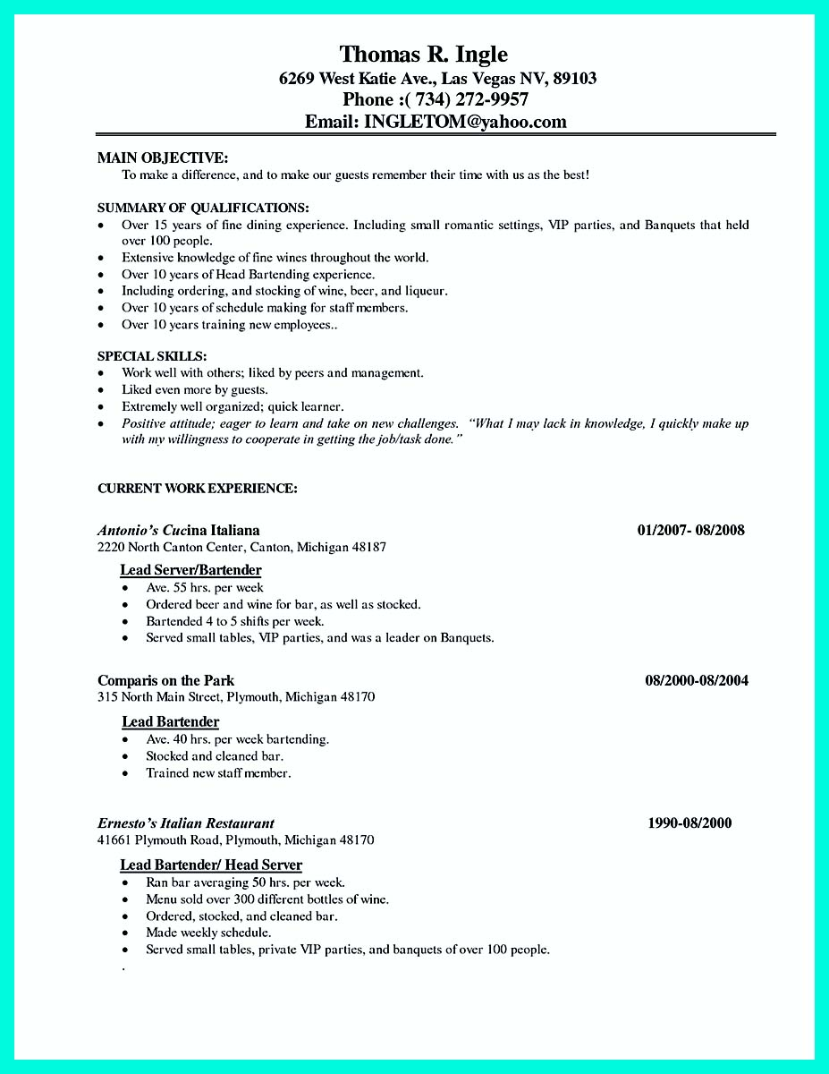 sample resume for a cocktail server best online resume builder sample resume for a cocktail server packer resume sample cover letters and resume cover letter waitress
