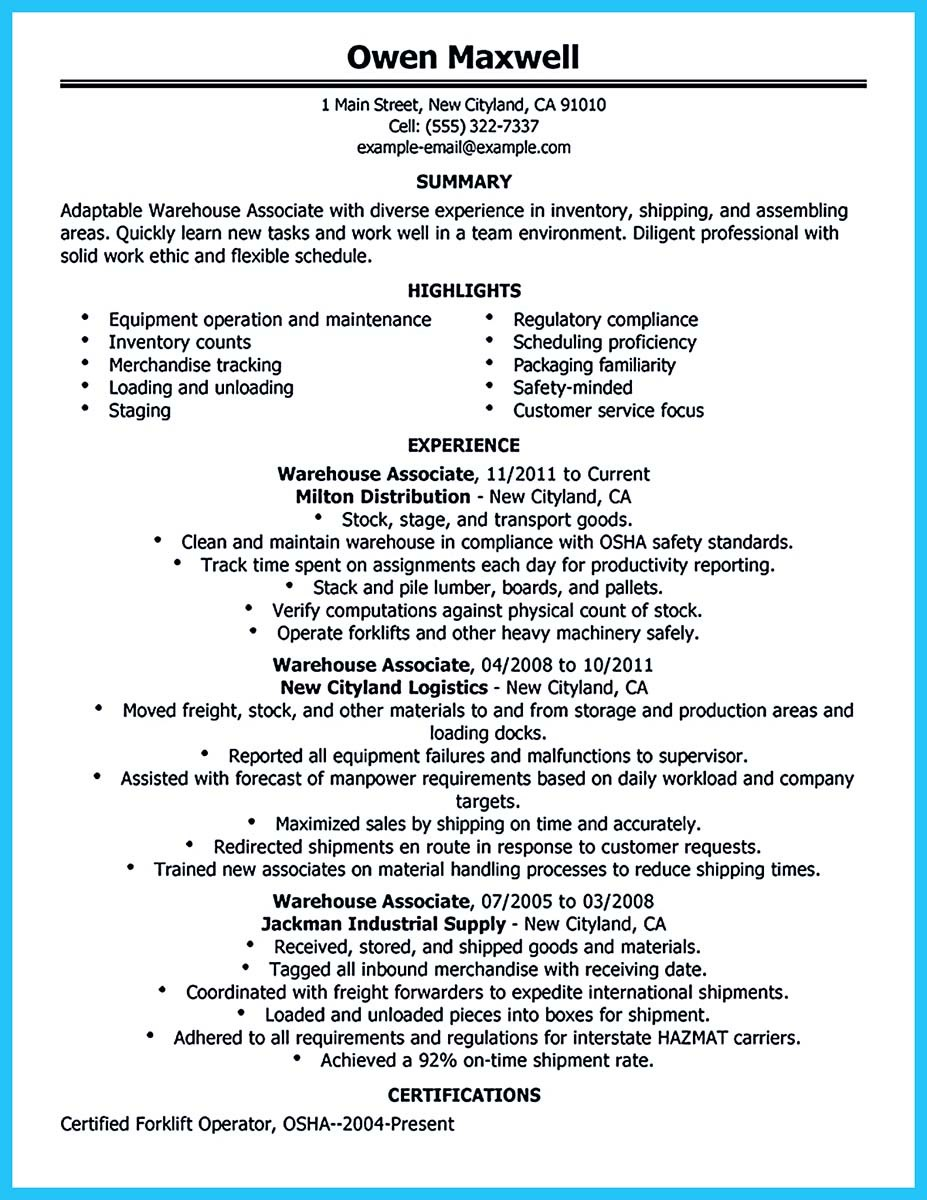 resume examples for production operator