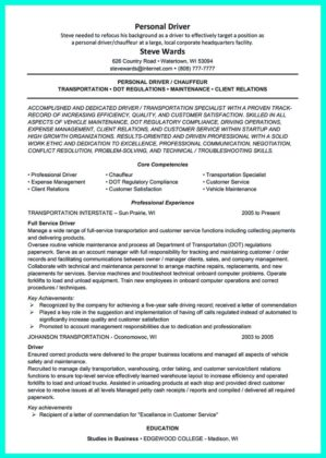 personal driver resume - Towerssconstruction