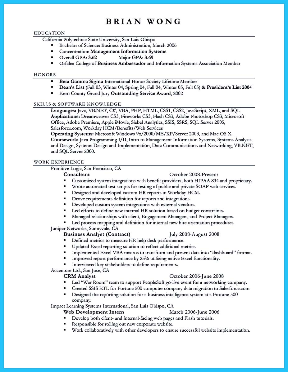 resume examples for business analyst
