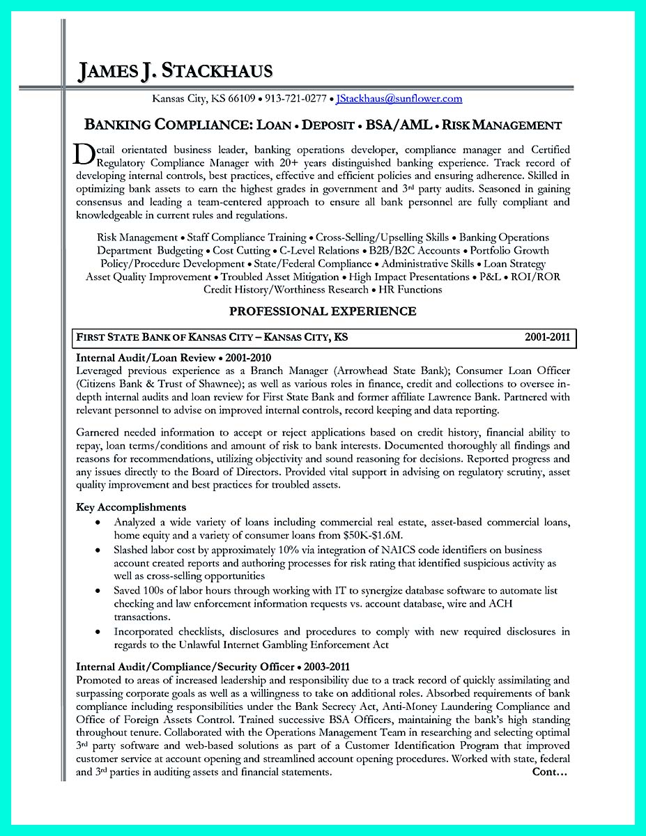 Regulatory compliance resume - Resume compliance officer ...